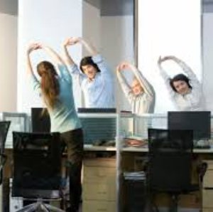 Workplace wellbeing office exercise photo